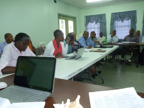Pensive Participants attending a Biosafety consultation in Grenada