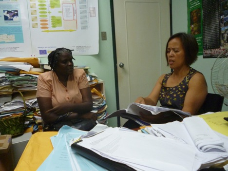 Legal Consultant to the Biosafety Regional Capacity Building Project, Maria Elena Keese involve in some intensive discussion with the Biosafety Project Coordinator in Grenada during a visit to the Spice Isle