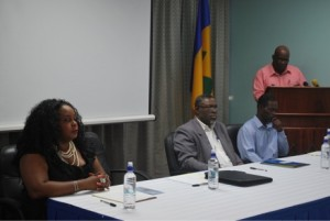 Members of the Head Table Left to right: Ms Michelle Fife, Attorney at Law; Hon. Clayton Burgin, Minister of Health, Wellness and the Environment; Mr. Marcus Richards, NBFs Focal Point; Mr. Luis de Shong, Permanent Secretary of the Ministry of Health, Wellness and the Environment