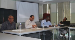 Country Mission Meeting: Members of the head table: Left to right, Dr. Sylvester Lynch – NPC; Mr. Ezra Ledger – Chair, NSC; Mr. Marcus Richards – Focal Point; Dr. Michelle John – Regional Project Manager