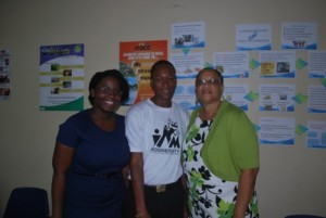 Ms Cherese Jack (NPC Assistant), Mr. Renson Doyle (Biodiversity Project) and Mrs. Andrea Robin (Chief Nutritionist / Vice Chair of the NSC) at the National Nutrition Fair