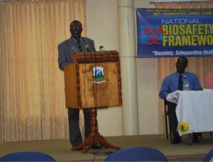 Hon. Clayton Burgin, Minister of Health, Wellness and the Environment addressing attendees at the project launch
